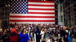 Die Wahlparty Hillary Clintons fand im Javiers Convention Center in NYC statt. Bildquelle: Désirée Hermann